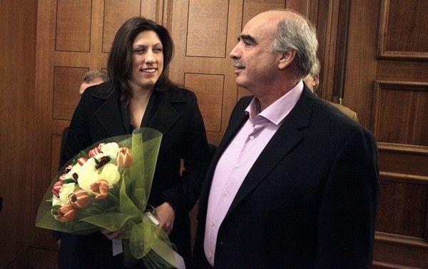 Συνάντηση του προέδρου της Βουλής Ευάγγελου Μεϊμαράκη με την Ζωή Κωνσταντοπούλου την Τετάρτη 28 Ιανουαρίου 2015. (EUROKINISSI/ΓΙΩΡΓΟΣ ΚΟΝΤΑΡΙΝΗΣ)