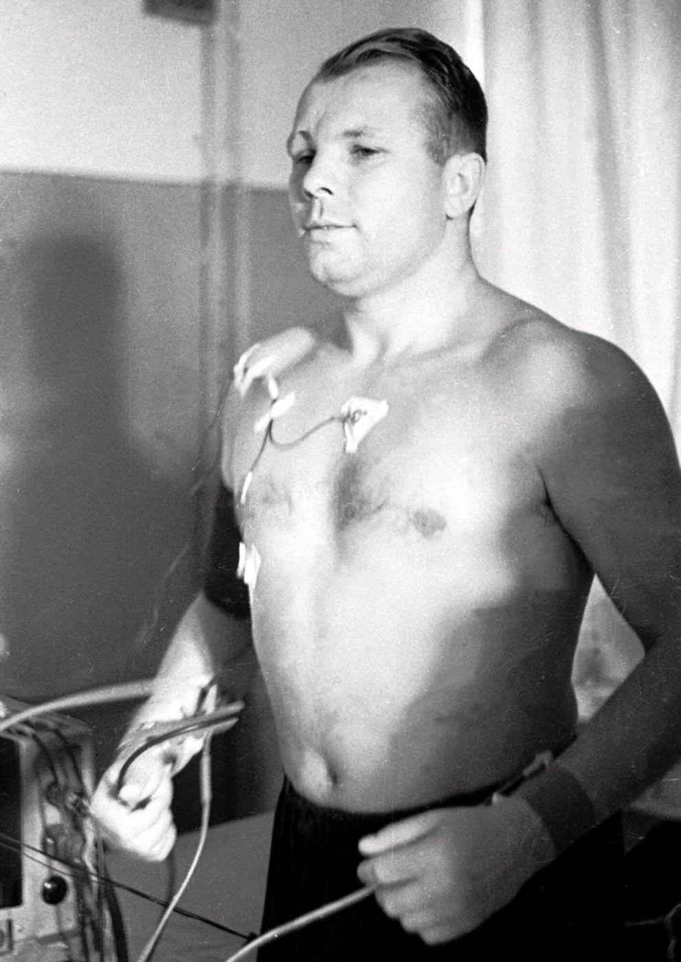 Ο Γιούρι Γκαγκάριν στη διάρκεια ενός τεστ στην Πόλη των Άστρων τον Νοέμβριο του 1959.