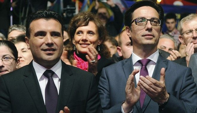 Ο πρόεδρος τη Βορείου Μακεδονίας Στέβο Πενταρόφσκι και ο πρωθυπουργός Ζόραν Ζάεφ