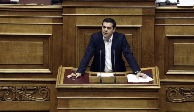 Alexis Tsipras opened the session at the plemum of the Parliament reading the new government`s policy statements, on Oct. 5, 2015 /       ,  5 , 2015