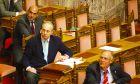 Στιγμιότυπο από την συζήτηση στην Ολομέλεια της Βουλής για την πρόταση που κατέθεσαν βουλευτές  του ΠΑΣΟΚ για σύσταση Ειδικής Κοινοβουλευτικής Επιτροπής για την υπόθεση του Βατοπεδίου.Στην φωτογραφία ο πρώην υπουργός  Πέτρος Δούκας με τον πρώην υπουργό Ευάγγελο Μπασιάκο,(EUROKINISSI/ ΓΙΩΡΓΟΣ ΚΟΝΤΑΡΊΝΗΣ)