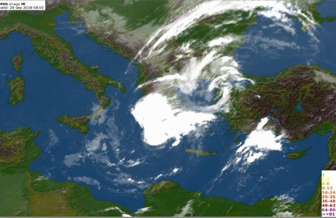 Δορυφορική εικόνα του κυκλώνα Ζορμπά