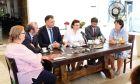 Λίνα Μενδώνη στην πρώτη της συνάντηση με τους δημοσιογράφους που πραγματοποιήθηκε στην αυλή του Βυζαντινού και Χριστιανικού Μουσείου
