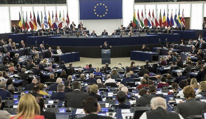 Ο πρόεδρος της Γαλλίας Ε. Μακρόν κατά την ομιλία του Ευρωπαϊκό  Κοινοβούλιο