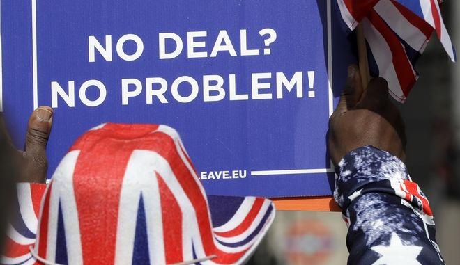 Στιγμιότυπο από συγκέντρωση υπέρ του Brexit