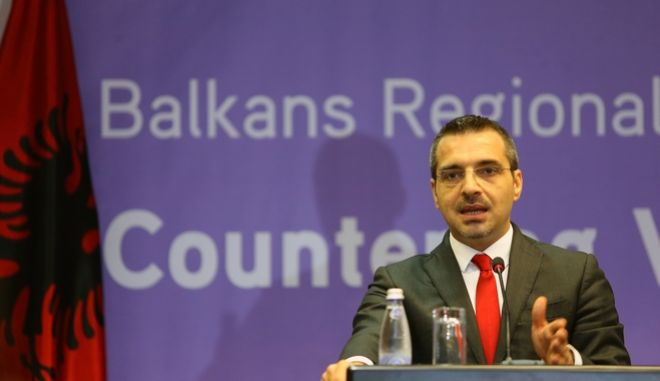 Albanian Interior Minister Saimir Tahiri speaks at a news conference at the end of the first day of a meeting of interior ministers and senior officials from the Western Balkan and European Union countries for the global fight against terror, in Albania's capital Tirana Tuesday, May 19, 2015. Security officials from the western Balkans and several European Union countries were meeting in Albania Tuesday as part of a U.S. government initiative to fight European recruitment by violent Islamic groups to fight in Iraq and Syria. U.S. Under Secretary of State Sarah Sewall attended the two-day conference in the Albanian capital Tirana and urged countries in the region to improve cooperation against recruitment and draw up national strategies to combat the problem. (AP Photo/Hektor Pustina)